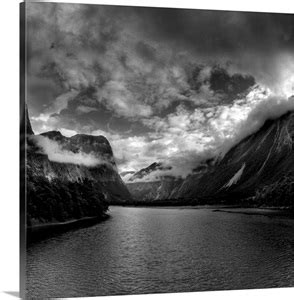 Black and White Photo of mountains and wilderness Photo